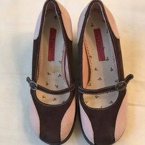 Pink & Brown Suede MaryJanes by Hot Kiss NWOB